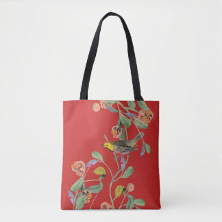 Vintage Songbird Red Tote Bag