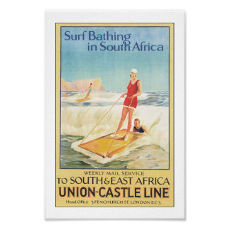 Vintage South Africa Surfing Travel Poster Print