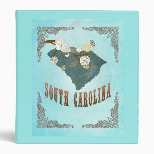 Vintage South Carolina State Map – Aqua Blue Vinyl Binder