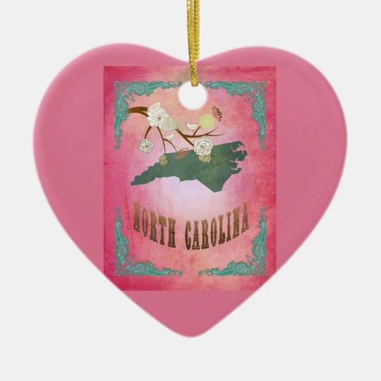 Vintage South Carolina State Map- Candy Pink Ceramic Ornament