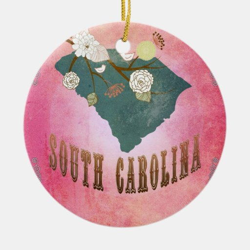Vintage South Carolina State Map- Candy Pink Christmas Tree Ornaments