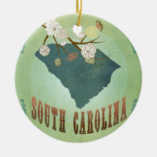 Vintage South Carolina State Map – Sage Green Double-Sided Ceramic Round Christmas Ornament