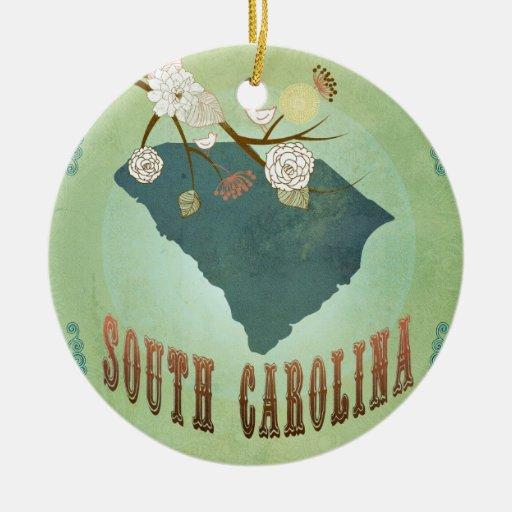 Vintage South Carolina State Map – Sage Green Christmas Ornament