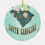 Vintage South Carolina State Map – Turquoise Blue Christmas Ornament
