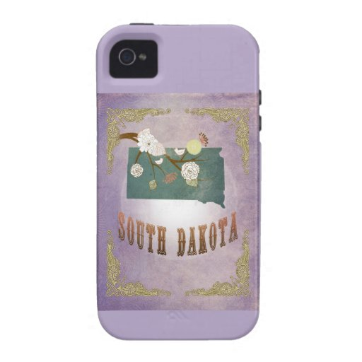 Vintage South Dakota State Map- Sweet Lavender Vibe iPhone 4 Case