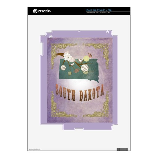 Vintage South Dakota State Map- Sweet Lavender Decal For The iPad 2