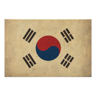 Vintage South Korea Flag Poster