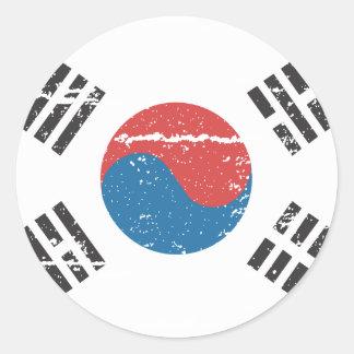 Vintage South Korea Flag Round Sticker