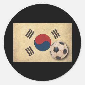 Vintage South Korea Football Round Stickers