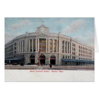 Vintage South RR Station Boston MA Stationery Note Card