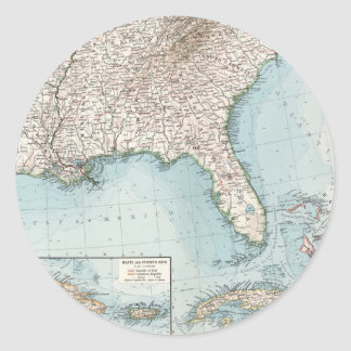 Vintage Southeastern US and Caribbean Map (1900) Classic Round Sticker