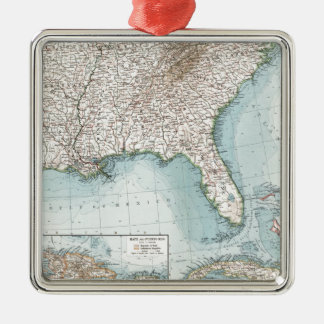 Vintage Southeastern US and Caribbean Map (1900) Metal Ornament