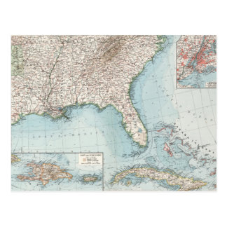 Vintage Southeastern Us And Caribbean Map 1900 Postcard