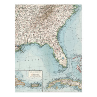 Vintage Southeastern US and Caribbean Map (1900) Postcard