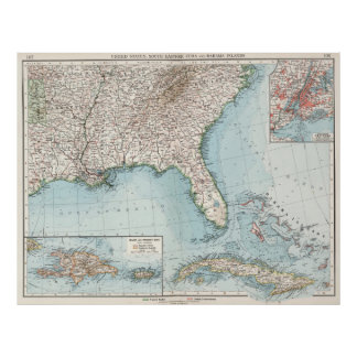 Vintage Southeastern US and Caribbean Map (1900) Poster