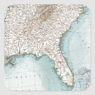 Vintage Southeastern US and Caribbean Map (1900) Square Sticker