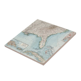Vintage Southeastern US and Caribbean Map (1900) Tile