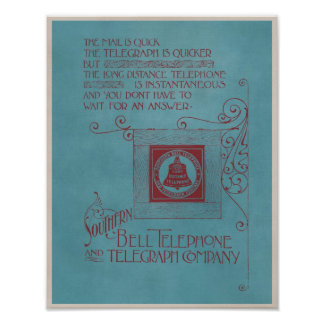 Vintage Southern Bell Telegraph Telephone Advert Poster