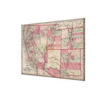 Vintage Southwestern United States Map (1869) Canvas Print