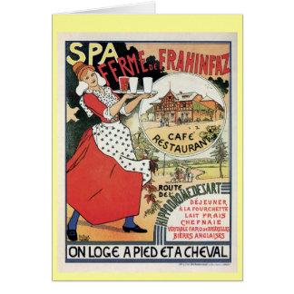 Vintage Spa Belgium Café restaurant ad Card