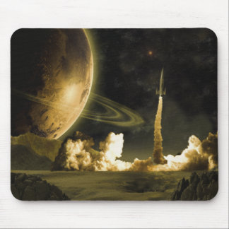 Vintage Space Launch Mouse Pad