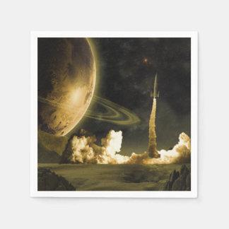 Vintage Space Launch Napkin