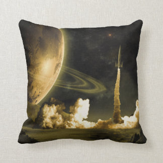 Vintage Space Launch Throw Pillow