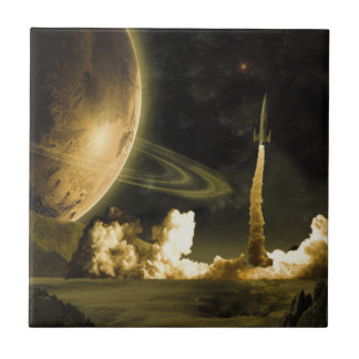 Vintage Space Launch Small Square Tile