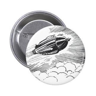 Vintage Spaceship Rocket Flying in the Clouds Pin