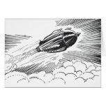 Vintage Spaceship Rocket Flying in the Clouds Card