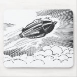 Vintage Spaceship Rocket Flying in the Clouds Mousepad