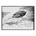 Vintage Spaceship Rocket Flying in the Clouds Poster