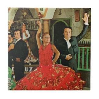 Vintage Spain, Flamenco dancers Small Square Tile