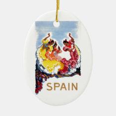 Vintage Spain Flamenco Dancers Travel Poster Ceramic Ornament at Zazzle