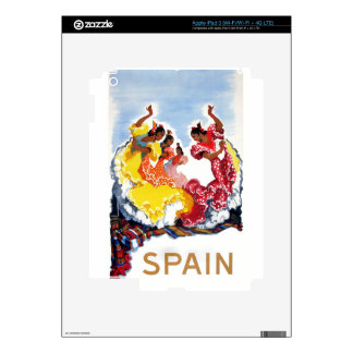 Vintage Spain Flamenco Dancers Travel Poster Decal For iPad 3
