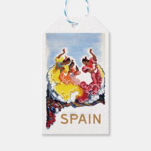 Vintage Spain Flamenco Dancers Travel Poster Gift Tags