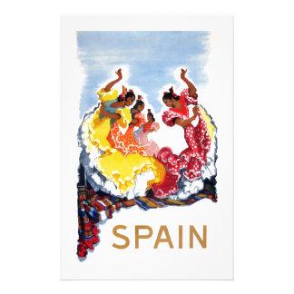 Vintage Spain Flamenco Dancers Travel Poster Stationery