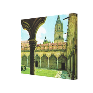 Vintage Spain Salamanca Schools Yard Cathedral Stretched Canvas Print
