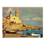 Vintage Spain,  Sitges, cathedral and waterfront Post Card