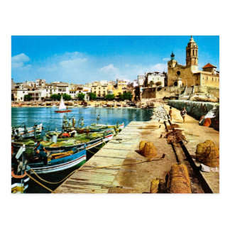 Vintage Spain, Sitges waterfront Postcard