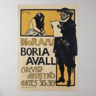 Vintage Spanish Artist Circle Advertisement Poster