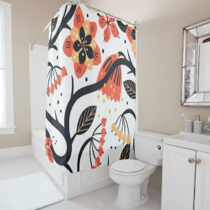 Vintage Spanish Fl Print Shower Curtain