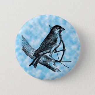 Vintage Sparrow Bird w/Bow & Arrow Old Archery Button