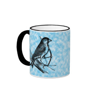 Vintage Sparrow Bird w/Bow & Arrow Old Archery Coffee Mug