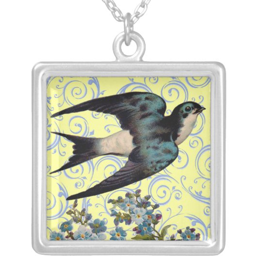 Vintage Sparrow Silver Plated Necklace