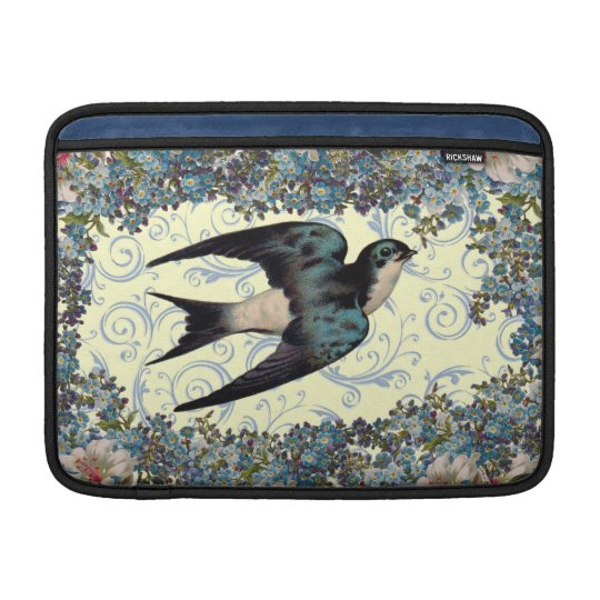 Vintage Sparrow Swirl MacBook Sleeve