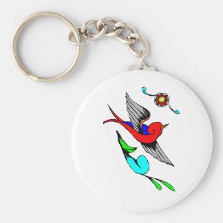 Vintage Sparrow Tattoo Keychain