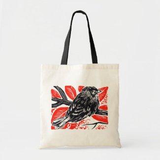 Vintage Sparrow Woodcut bag