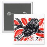 Vintage Sparrow Woodcut Pinback Button