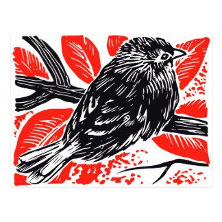 Vintage Sparrow Woodcut Postcard